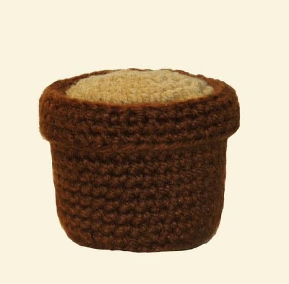 Macetero base tejido a crochet en Amigurumi
