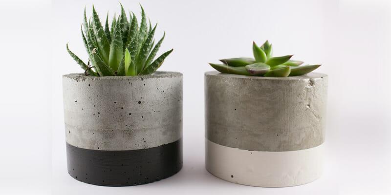 como hacer macetas de cemento