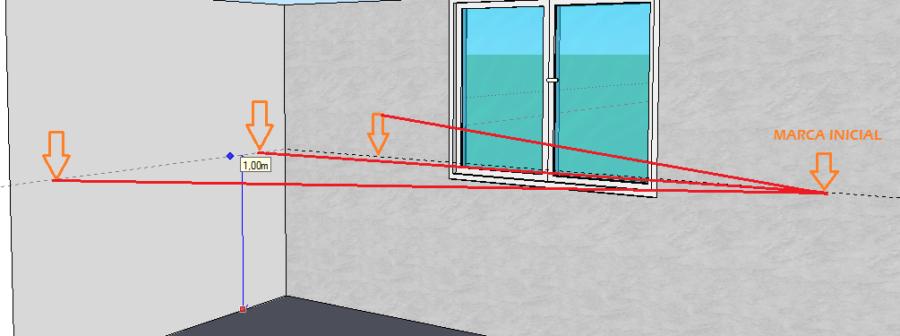 Línea de nivel colocar ceramicos en piso y paredes